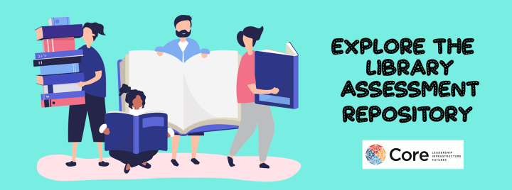 illustration of people holding book with the text Explore the Library Assessment Repository
