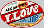 Ask me why I love my job logo