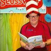 Andrew Sherman celebrating Dr. Seuss birthday at the library