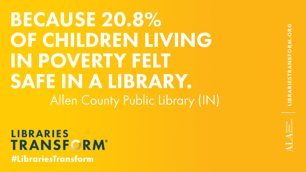 Because 20.8% of children living in poverty felt safe in the library