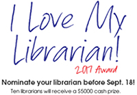 I Love My Librarian! 2017 Award logo