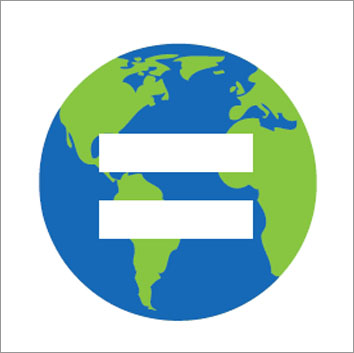 Globe of Earth with a large white equality sign superimposed