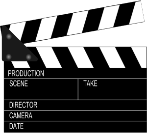 Black and white movie set clapboard