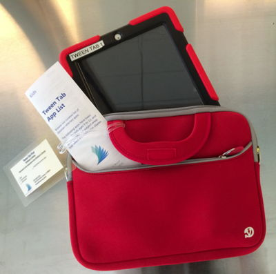 Tablet and red carrying case