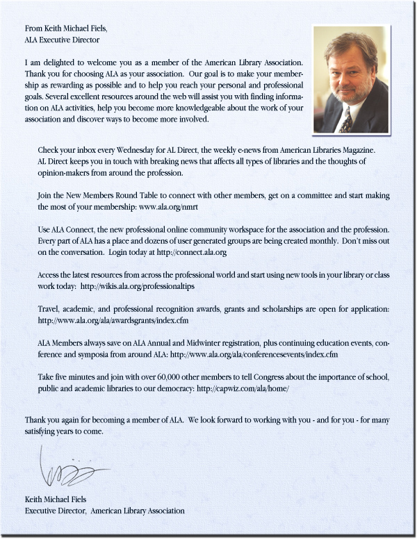 letter from keith fiels to new members