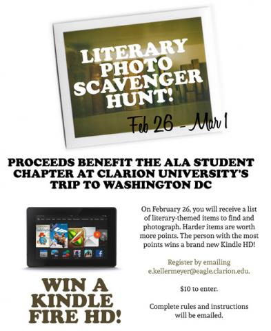 A poster describing ALA Student Chapter at Clarion University Literary Photo Scavenger Hunt