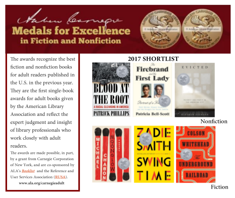 Postcard with Andrew Carnegie Medals for Excellence Shortlist titles