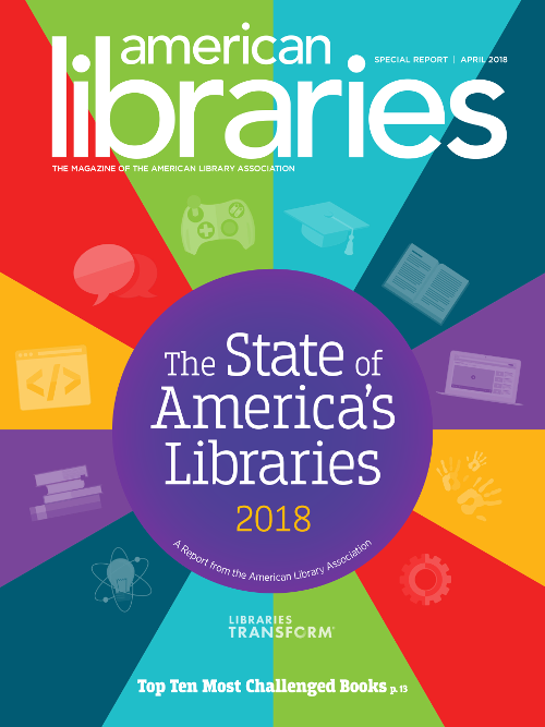 Report cover: State of America's Libraries 2018, a report from the American Library Association, Top Ten Challenged Books