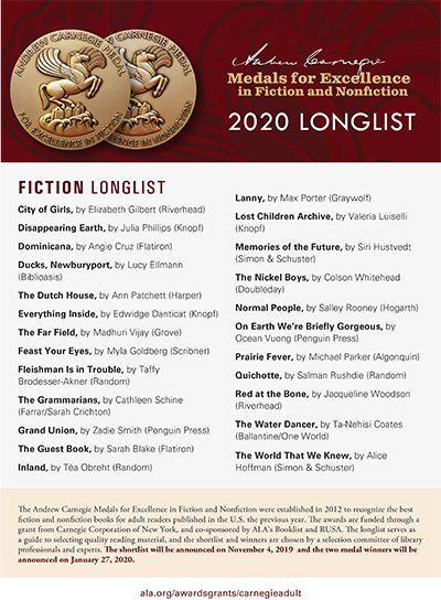 Printable flyer with Andrew Carnegie Medals for Excellence 2020 Longlist seletions