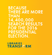 Because there are more than 14,600,000 search results for the 2016 presidential election… Libraries Transform