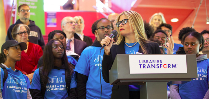 ALA President Loida Garcia-Febo leads a Libraries = Strong Communities rally at Cambridge (Mass.) Public Library.