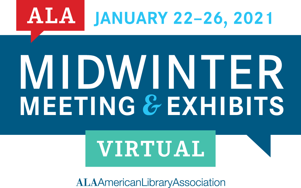Logo for the 2021 ALA Midwinter Meeting and Exhibits.