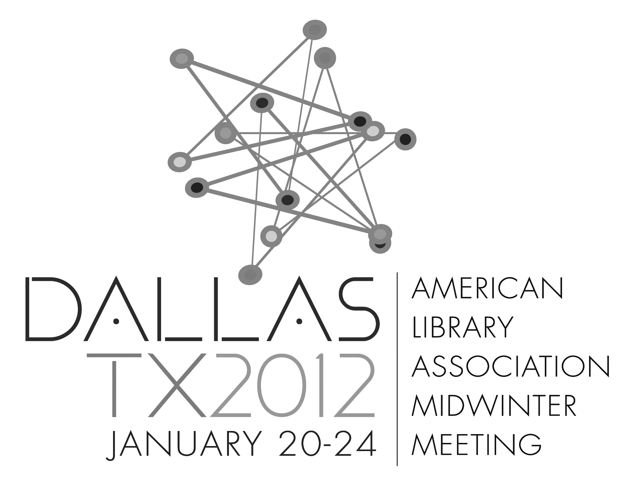 Black and white logo: American Library Association Midwinter Meeting, Dallas, Texas January 20-24, 2012