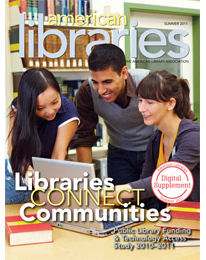 magazine cover: libraries connect commnities