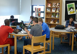 Library at Northwest High School, Cedar Hill, Missouri. Photo by Linda Dougherty