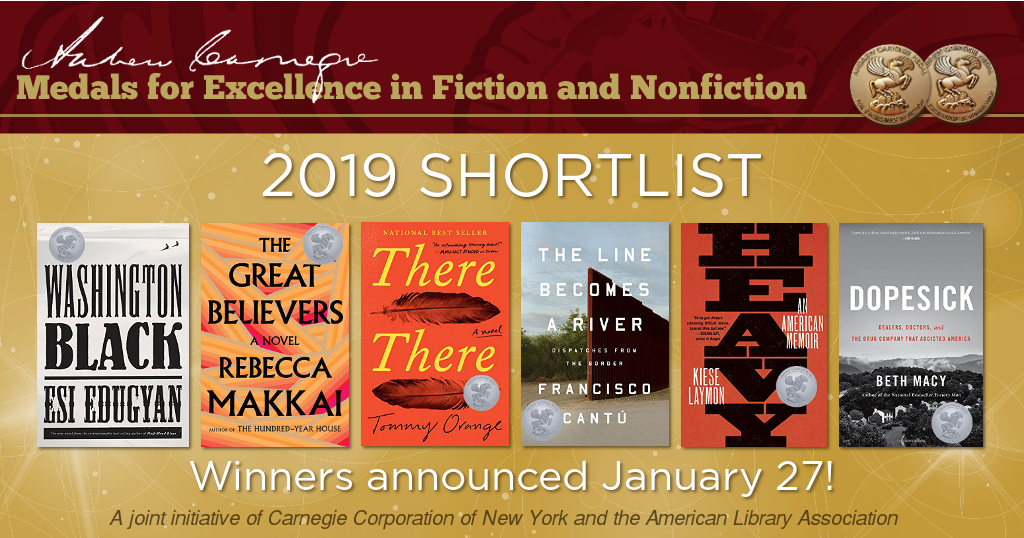Andrew Carnegie Medals for Excellence in Fiction and Nonfiction 2019 Songlist. Winners announced January 27!