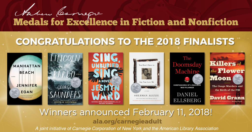 Andrew Carnegie Medals for Excellence in Fiction and Nonfiction Shortlist 2018
