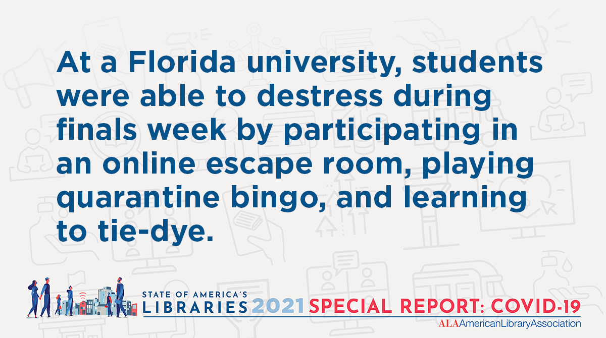 Twitter share: At a Florida university, students were able to destress during finals week by participating  in an online escape room, playing quarantine bingo and learning to tie-dye.State of America's Libraries 2021 Special Report: COVID-19 (illustration of people walking in a city with masks, Wi-Fi is emanating from library building)