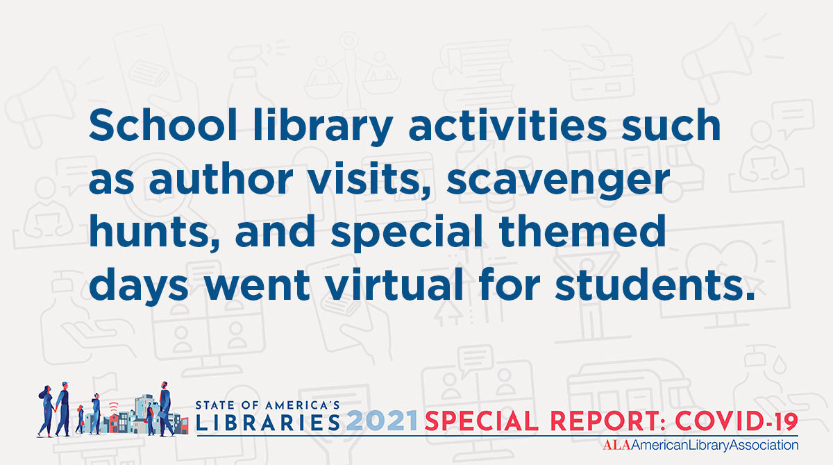 Twitter share: School activities such as author visits, scavenger hunts and special themed days went virtual for students.State of America's Libraries 2021 Special Report: COVID-19 (illustration of people walking in a city with masks, Wi-Fi is emanating from library building)