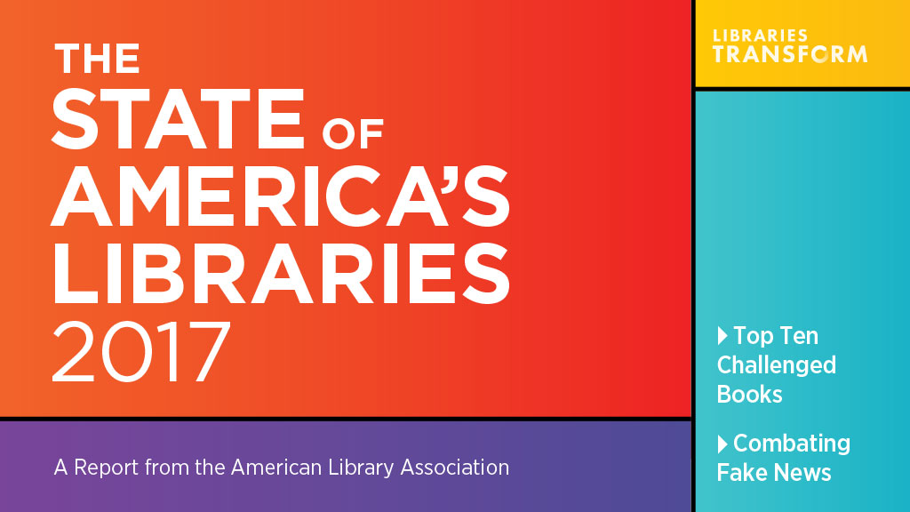 Social media share: State of America's Libraries 2017, Top Ten Challenged Books, Combating Fake News.
