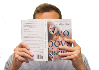 "Man reading book, ""Two Boys Kissing"""