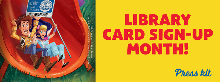 Library Card Sign-up Month Press Kit (Pictured: Toy Story 4 characters Woody and Belle)