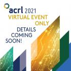 ACRL 20201 Virtual Event logo with green, blu,e and gold triangles