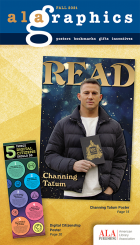 Catalog cover: ALA Graphics Fall, 2021, featuring Channing Tatum