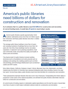 cover shot of 1-pager on library construction needs: blue and black text on white background