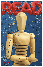 Poster featuring READ in red balloon letters, a wooden figure at the center, and confetti falling across the poster with a blue background