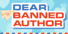 """Text reads """"Dear Banned Author"""" A paper airplane flies across the letters, against a blue background with hearts"""