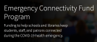 White text on black background: Emergency Connectivity Fund Program. Funding to help schools and libraries keep students, staff and patrons connected during the COVID-19 health emergency.