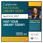 National Library Week print PSA with Julie Foudy