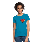 Model wearing teal t-shirt with the word library on a ribbon over a heart