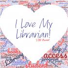 I Love My Librarian Award Word Cloud Heart Logo