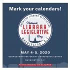 Blue and red Save the Date for National Library Legislative Day, May 4-5, 2020