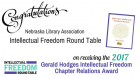 Nebraska Library Association Intellectual Freedom Round Table receives the Gerald Hodges Award