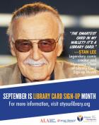 September is Library Card Sign-up Month, Stan Lee Honorary Chair