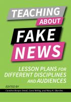 Teaching About Fake News: Lesson Plans for Different Disciplines and Audiences book cover with the title text over a lime green background