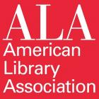 White letters on bright red square background: ALA American Library Association
