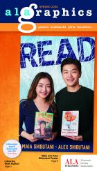ALA Graphics Spring 2020 Catalog Cover featuring Maia and Alex Shibutani on a poster and a round button that says Libraries work because we do.