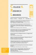 March 2016 College and Research Libraries cover.
