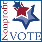 Red and blue stars logo: Nonprofit VOTE