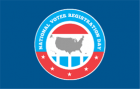 Red and blue circle logo: National Voter Registration Day