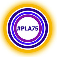 PLA 75th Anniversary circles logo with PLA acronym and hashtag #PLA75