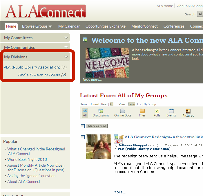 Screenshot showing location of link to PLA (Public Library Association) community under My Divisions
