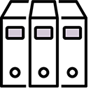 Stylized image of three book spines