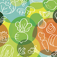 Stylized images of various fruits and vegetables against a background of multi-colored circles