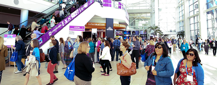 Image of PLA 2016 Conference attendees in the atrium lobby of the Colorado Convention Center, Denver, Colo.