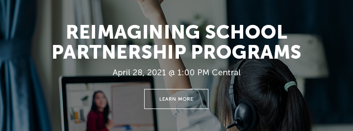 Reimagining School Partnership Programs during the Pandemic - April 28, 2021 at 1:00 PM Central - Learn more and register at http://www.ala.org/pla/education/onlinelearning/webinars/reimagining